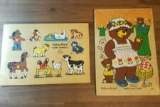 Lot of 2 Rare Vintage Fisher Price Wood Puzzles Farm Animals Bear & Cubs 1971-73