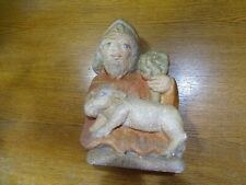 Statue Sculpture Saint-Pierre And Lamb IN Stone Granit Stone Britain