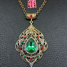 Women's Green Clear Crystal Water Drop Pendant Betsey Johnson Long Necklace