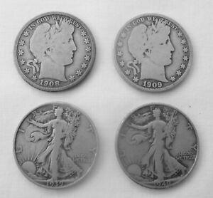 4 Silver Half Dollars 2 Barber 08D & 09  &  2 Walking Liberty 39 & 40S