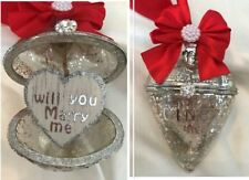 Marriage proposal Glass heart xmas tree bauble, engagement proposal keepsake