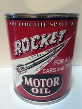 Vintage Rocket Motor Oil Can 1 qt. - (Reproduction Tin Collectible)