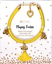 Anklet Yellow *Fits Most* >New< 2Chic Playing Footsie Fashion Ankle Bracelet