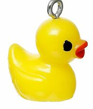 SILVER & YELLOW  ACRYLIC  DUCK CLIP ON CHARM FOR BRACELETS - SILVER ALLOY - NEW