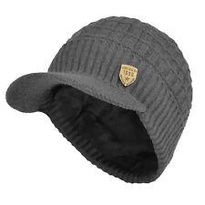 Winter Waffle Visor Beanie Knit Hat with Billed Fleece Lined Ski Brimmed Cap