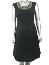 Alfani Womens Size 2 Black Embellished Sleeveless A-Line Cocktail Midi Dress