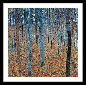 Beech Grove I by Gustav Klimt 60cm x 60cm Framed Black