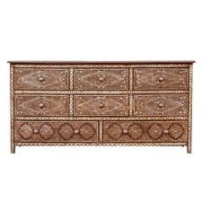 Handmade Bone Inlay Floral Design Solid Wood Chest of Drawer Dresser