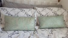 2 Turquoise Blue Green Duck Egg Cushions + Grey Back Silver Sequins Covers +Pads