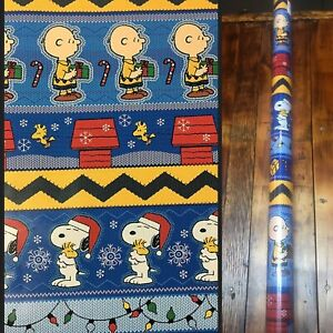 7 Rolls SNOOPY CHARLIE BROWN PEANUTS GIFT WRAP WRAPPING CHRISTMAS HOLIDAY 60sf