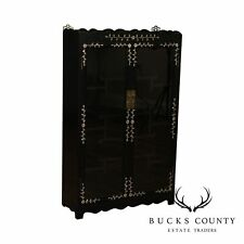 Vintage Chinese Ebonized Mother of Pearl Inlaid 2 Door Small Etagere Cabinet