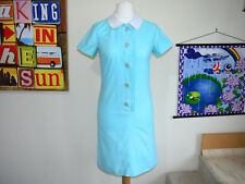 Super cute Vintage 1960s blue shirt dress ~ UK 12