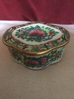 Pretty Oriental Shaped Porcelain Trinket Box With Butterfly & Floral Decoration