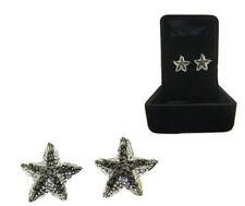 Star Fish Earrings 2 Tone Silver Gun Metal Black White CZ Gift Boxed Sealife NWT