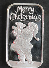 1995 Silver Towne Santa with Bear Silver Art Bar ST-254V P1569