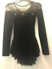 Girls Velvet and mesh Chloe Noel figure skating competition dress, black, sz Cm