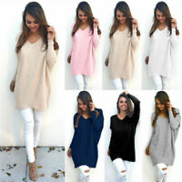 Womens Ladies Long Sleeve Jumper Blouse Tops V Neck Sweater Pullover Size S-XL