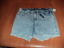 New Womens Junior Plus Size 14 Rue21 Numero Blue Jean Cut Off Shorts Mid Rise
