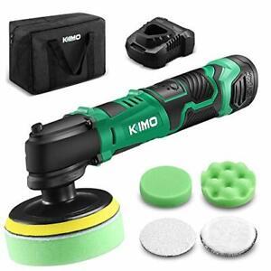 "KIMO 12V 4"" 3000RPM Cordless Car Buffer Polisher Kit w/ 2.0Ah Battery & Fast ..."