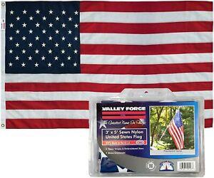 Valley Forge 3' x 5' Sewn Nylon Unites States Flag w/Brass Grommets