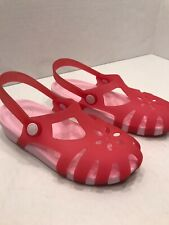 Pink Two Tone Flower Pattern Crocs Kids Size J3