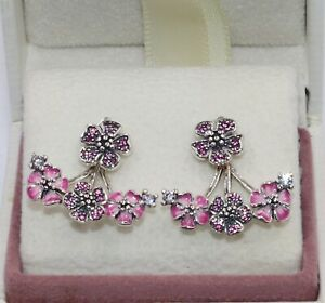 AUTHENTIC PANDORA  Peach Blossom Flower Earrings, 298113NCCMX  #1946