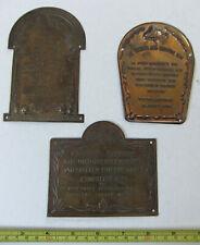 ANTIQUE SOLID BRASS HAND-HAMMERED BRASS INFORMATION PLAQUES, CAIRO, 1850s, INN