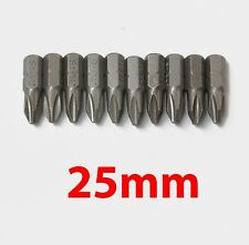10pc 25mm Long Magnetic PH2 Phillips Head Screw Bit Impact Driver Drill Insert