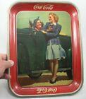 Vintage Two Girls at Car Roadster Coca-Cola Original Coke Serving Tray 1942