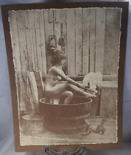 R. Hendrickson Sepia Print Boudoir Sexy Lady Bathing In Tub Scrubbing Foot