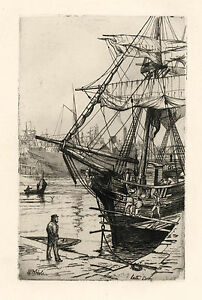"William Hole original etching ""Leith Docks"""
