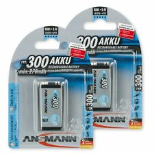 ANSMANN 2-Pack 9V 300 mAh Low Self-Discharge Rechargeable Battery 9 Volt