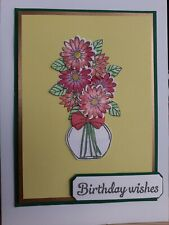 Hand Made Card Birthday wishes Flowers-Yellow