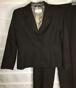 Le Suit Petite Brown Fully Lined Polyester Jacket & Dress Pants Suit 12P EC!