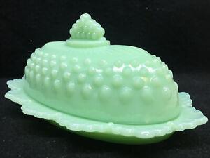 Jadeite Green Milk Glass hobnail pattern covered stick butter dish / opaque jade