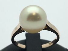 New Solid 14K Yellow Gold Fresh Water Round Cut Pearl Gemstone Ring - Size 6.5