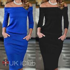 Womens Off Shoulder Long Sleeve Frill Hem Bardot Midi Bodycon Dress Size 8-14
