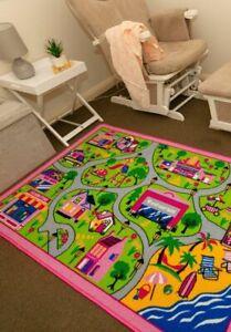 New Children's Rug Playmat Activity Play Mat Pink Track 100cm x 150cm