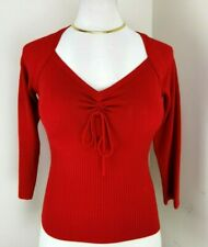 Women Red Knitted Top 3/4 Sleeves Deep V Neck Bow Mystify Size M