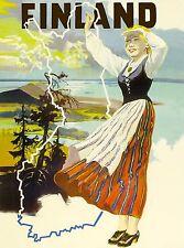 Finland Scandanavia Finnish Scandanavian Vintage Travel Advertisement Poster
