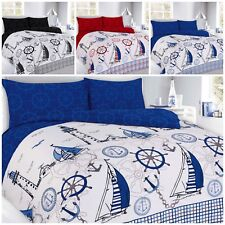 MODERN SAILING JAKE NAUTICAL PRINT DESIGN DUVET/QUILT COVER PILLOWCASES BEDDING