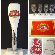 "Stella Artois Beer Tap Handle 12"" (4) 40 cl Glasses Bar Mat 25 Coasters NEW FS"