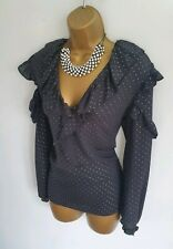 Miss Selfridge BNWT Black Silver Cute polka dot Spotty Frill smart blouse 12