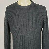Aeropostale Mens Sz L Pullover Sweater Slim Fit Crew Neck Ribbed Blue Acrylic