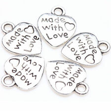50Pcs Silver Tone Charm Pendants Tibet Love Heart 13*10mm DIY Jewellery Making