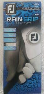 FootJoy Men's RainGrip Golf Gloves, Pair (White) Large White/Grey NEW NEVER USED