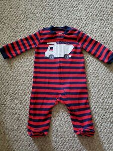 Child Of Mine By Carter's Sleeper Sleep & Play Red Blue Striped Dump Truck 3-6 M