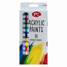 10 X 12ml ACRYLIC COLOUR PAINTS SET ARTIST ART AND CRAFT COLOR PAINT TUBE KIT