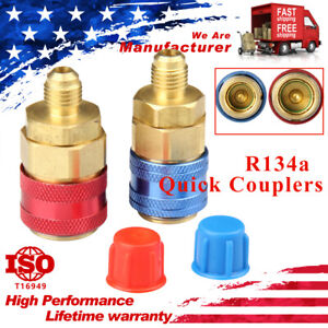 2Pack Car AC A/C R134A Air Conditioning High/Low Quick Connector Adapter Coupler