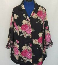 REQUIREMENTS Petite Womens Top Sz 2XWP Black Floral Pinks Ruffles 3/4 Sleeves